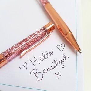 Other - 5/$25 Rose Gold Liquid Glitter Ballpoint Pens